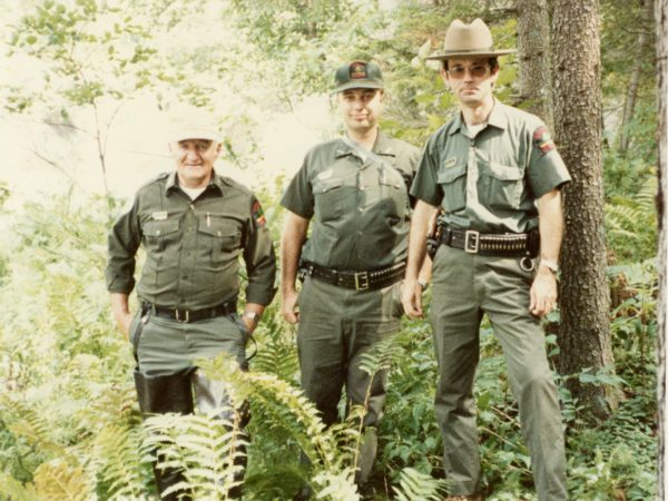 Forest rangers at High Falls in the Town of Fine