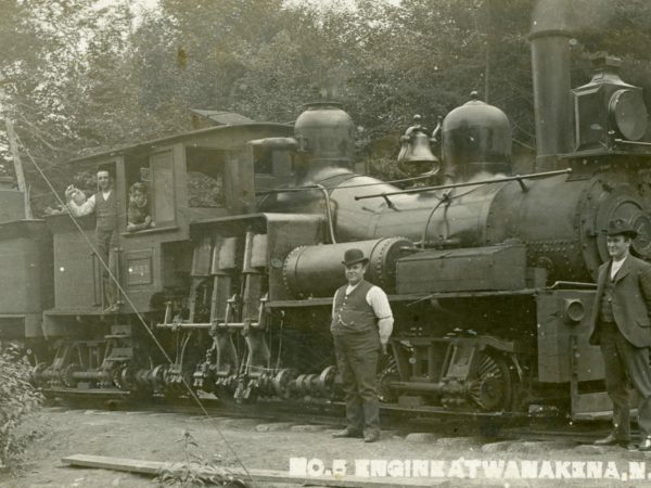 Men with Engine No. 5 in Wanakena