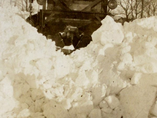 Plowing through deep snow in Clayton
