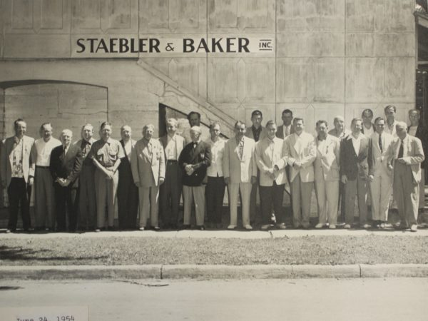 Workers outside Staebler and Baker in Clayton