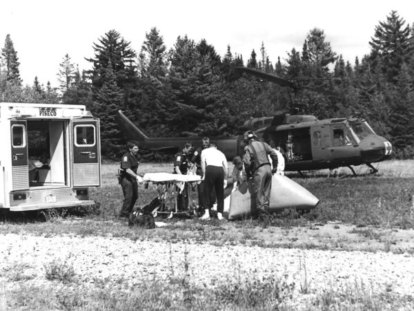 Ambulance airlift in Piseco
