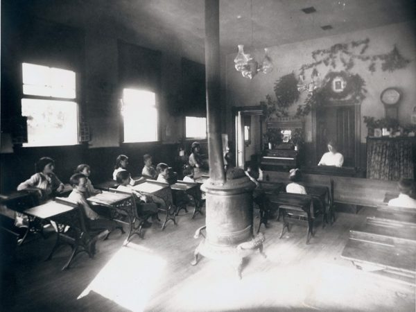 Inside the one room schoolhouse in Arietta