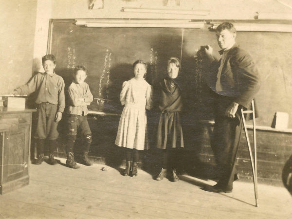 Teaching students inside the District 3 School in Benson