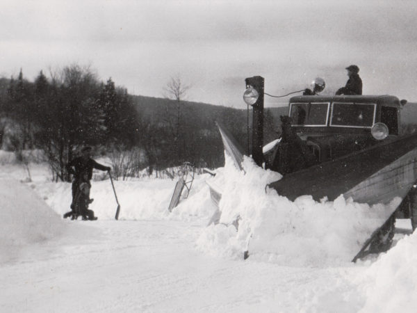 Plowing with a Lynn snowplow in Benson