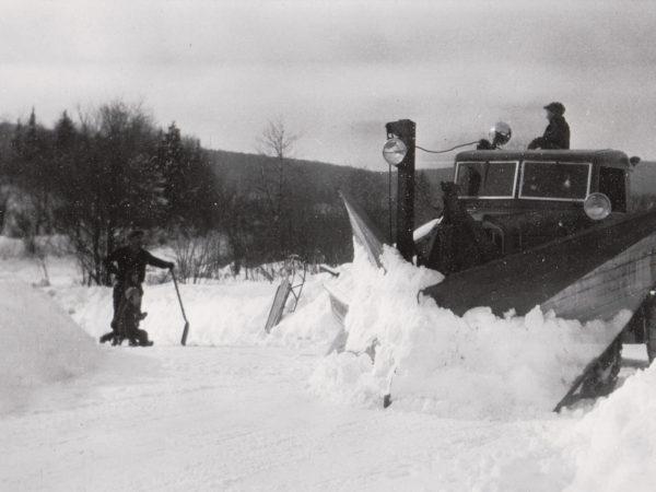 Plowing with a Lynn snowplow in Benson