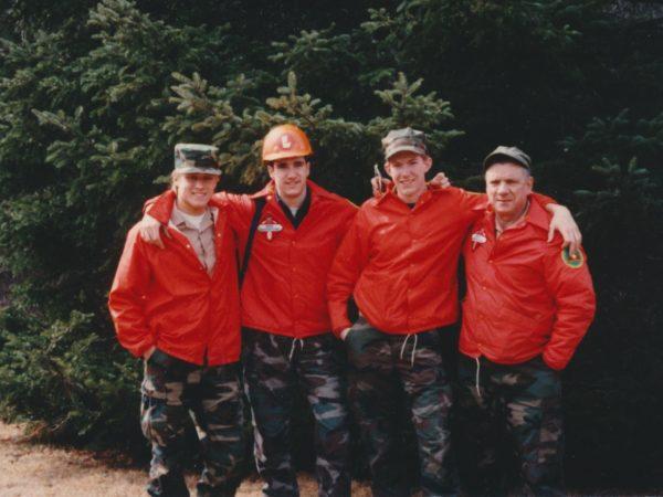 A search team in Benson