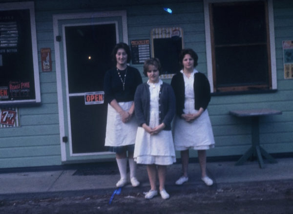 Waitresses in front of the Hope Diner