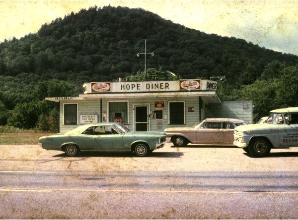 Cars in front of the Hope Diner