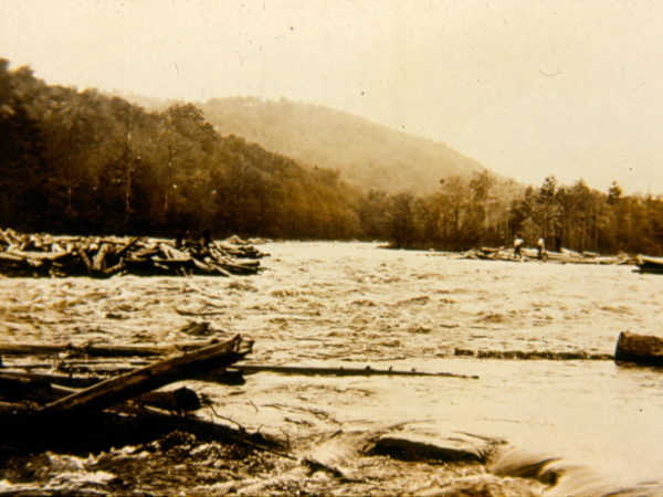 Driving logs on the river in Hope