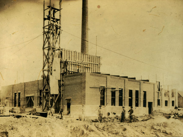 Construction of an Island Paper Company building in Carthage