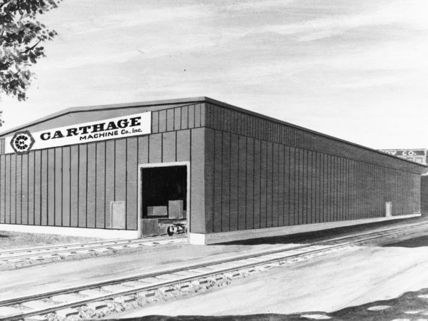 An architect's drawing of the addition to the Carthage Machine Company building in Carthage