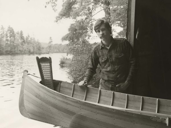 Jim Cameron with a guideboat on Upper St. Regis Lake