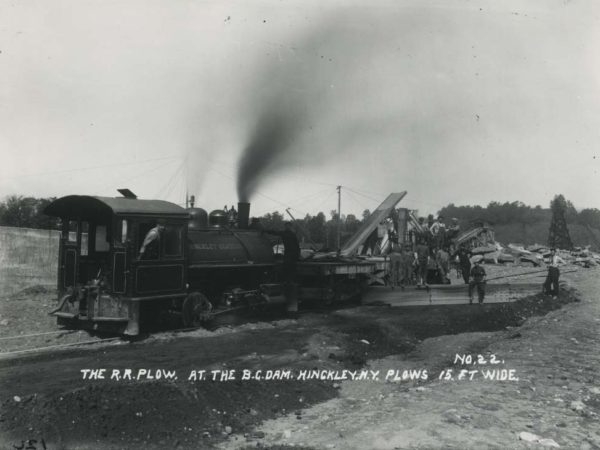 The railroad plow at the barge canal dam in Hinckley