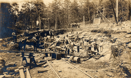 Miners with tools at Hoopers Mine in North River