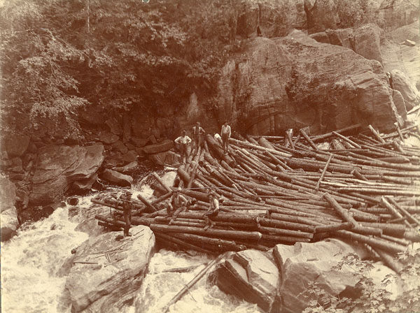 Five loggers on a log jam in the Adirondacks