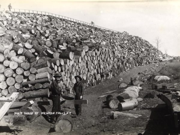 Two men in front of a pulpwood stack in Newton Falls