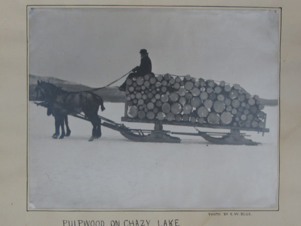 Bobsled load of pulpwood on Chazy Lake in Dannemora