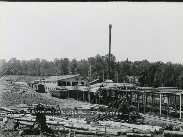 Mill and elevated train tracks of the Emporium Lumber Company in Conifer