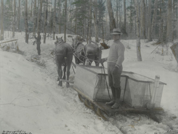 Man stands on a sled with sap gathering tank in the woods of Piercefield