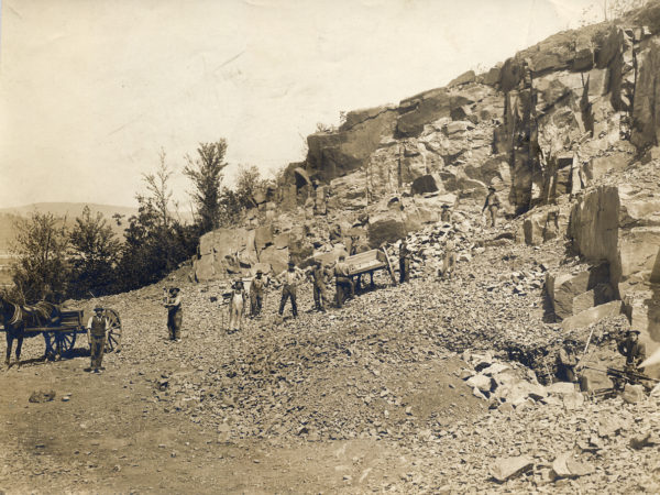 Miners loading stone at quarry in Tupper Lake