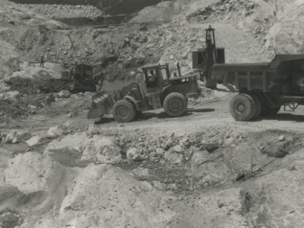 Removing mud with a payloader at the Gouverneur Talc Co. in Balmat