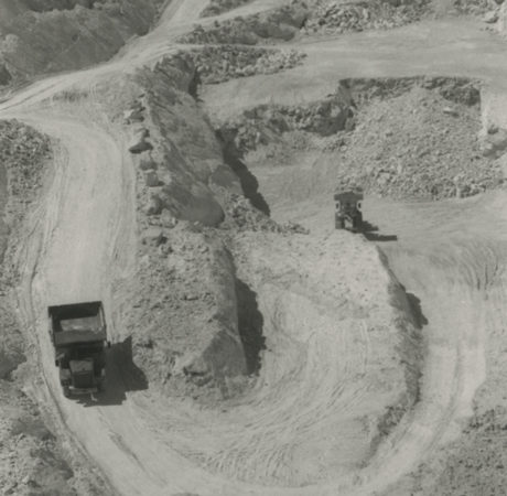 Dump truck winding its way into the quarry at the talc mine in Balmat
