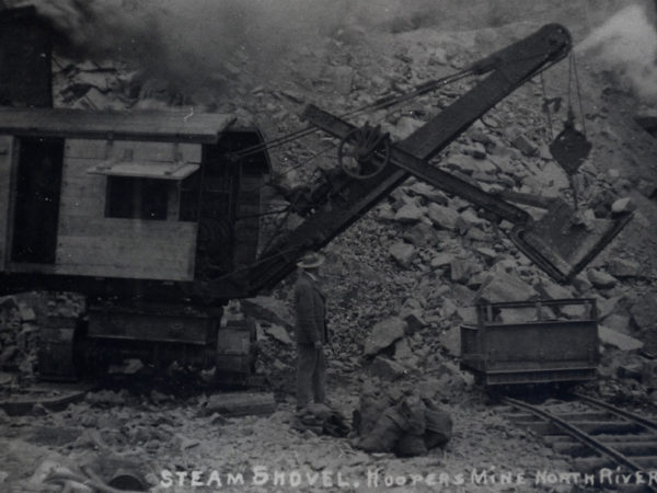 Mr. Hooper with the steam shovel at Hooper's Mine in North River