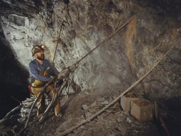 Drilling in the St. Joe Minerals mine in Balmat