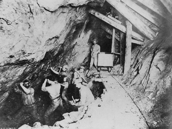 Miners at work in a shaft in Port Henry
