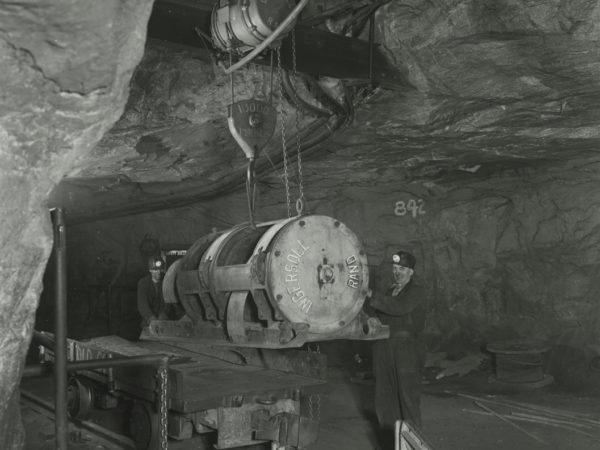 Miner operates machinery in Republic Steel Company shaft in Mineville