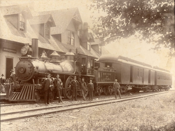 New York and Ottawa train at the depot in Tupper Lake
