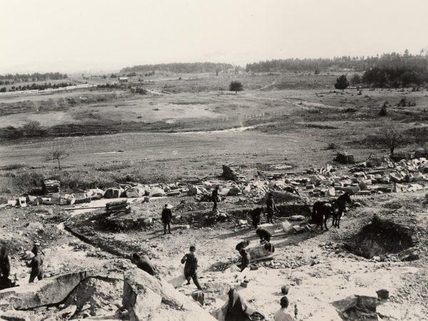 Men working at the Baker Granite Quarry in Keeseville