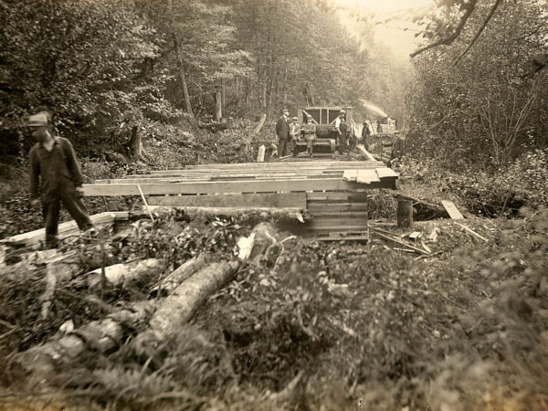 Building a logging railroad in Piercefield