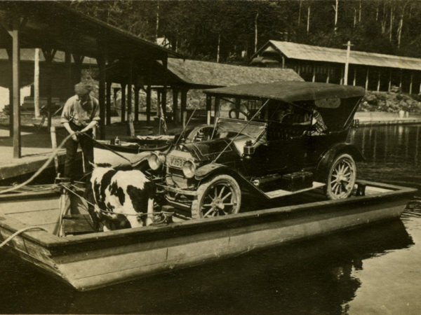 Docking the car ferry in Raquette Lake