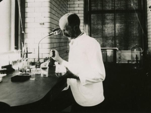 Doctor Edward Livingston Trudeau in Trudeau Sanitarium lab in Saranac Lake