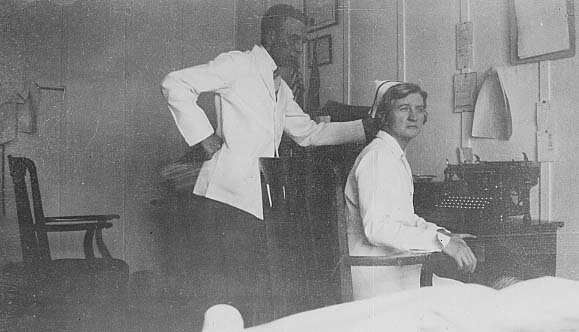 Doctor and nurse in the office at the American Legion Camp in Tupper Lake