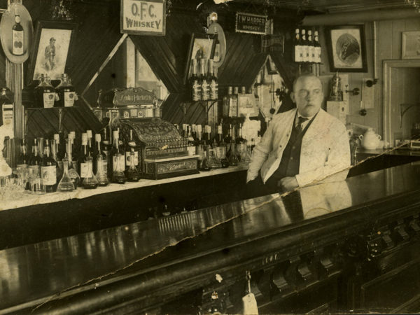 William Nylan behind the bar at the Minerva Hotel in Minerva