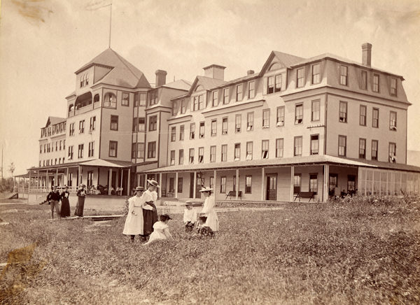 Guests on the lawn of Grand View house in Lake Placid