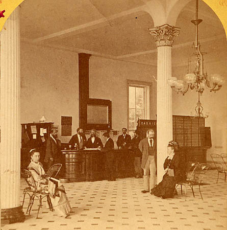 People in the lobby of the Fort William Henry Hotel in Lake George