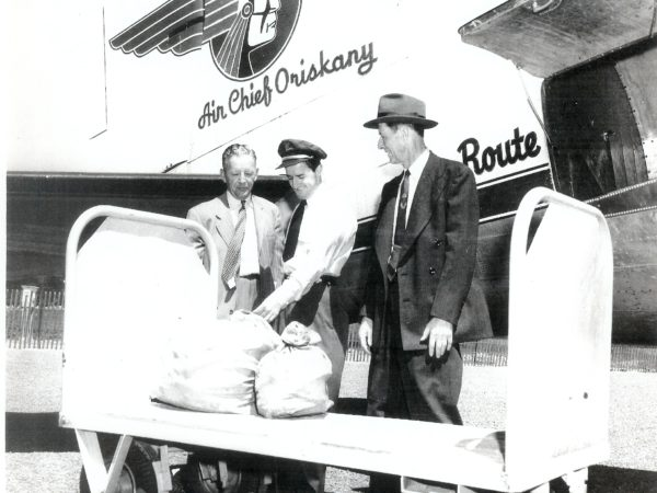 Receiving the first Air Mail delivery in Ogdensburg