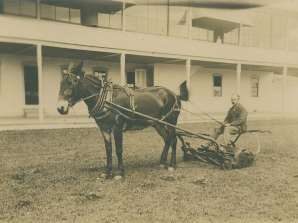 Horse drawn lawn mower at Paul Smith's Hotel in Paul Smiths
