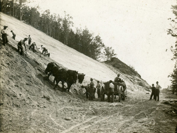 Grading a railroad cut in Glens Falls