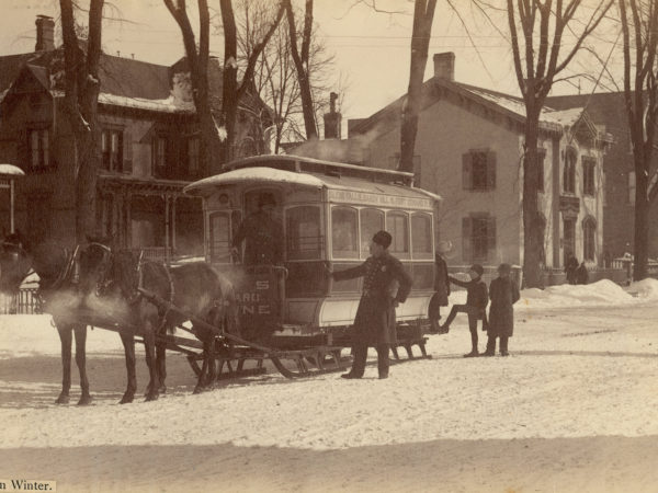 A horse-drawn trolley in Glens Falls