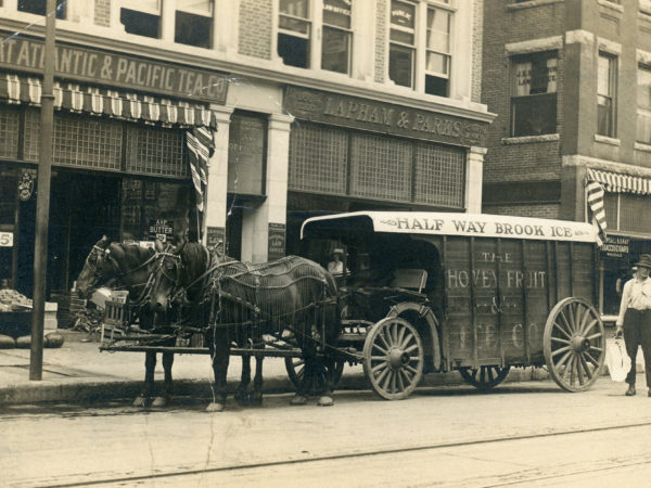 The Half Way Brook ice wagon in downtown Glens Falls