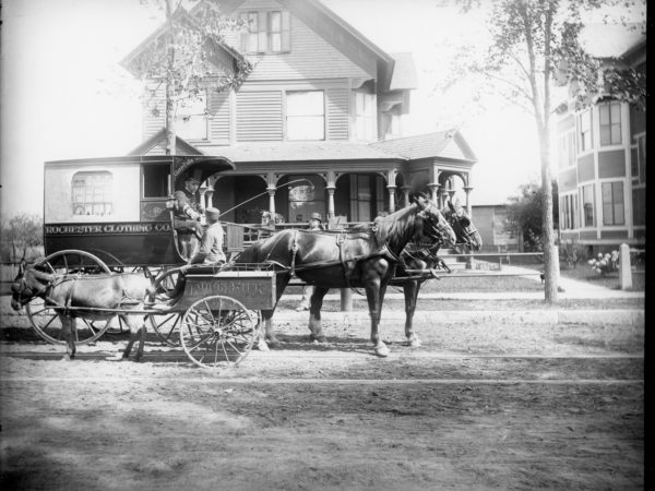 The horse-drawn Rochester Clothing Company wagon in Glens Falls