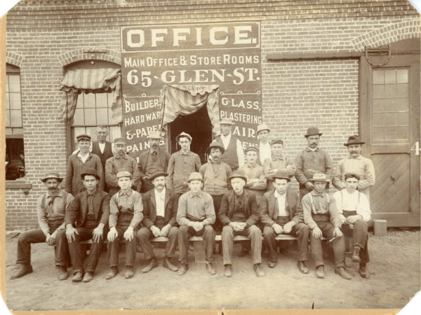 Workers outside the Kendrick, Brown & Co. lumber manufacturers in Glens Falls