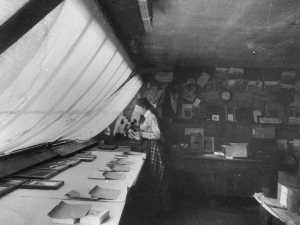 Helen Stoddard working in the studio in Glens Falls
