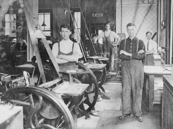 Five workers in the Morning Star print shop in Glens Falls