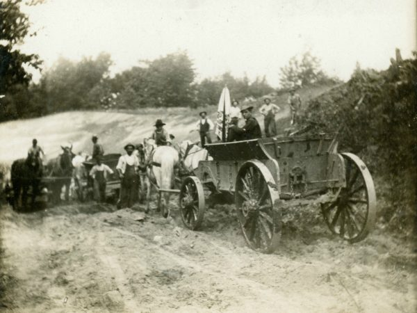 Workers for the D.E. VanWirt Construction Company in Glens Falls