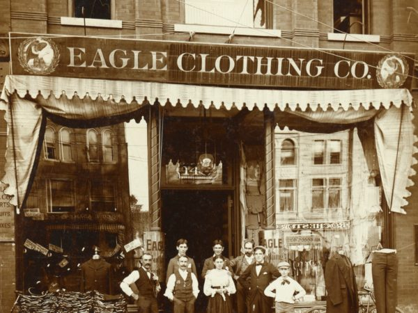Employees outside the Eagle Clothing Co. store in Glens Falls